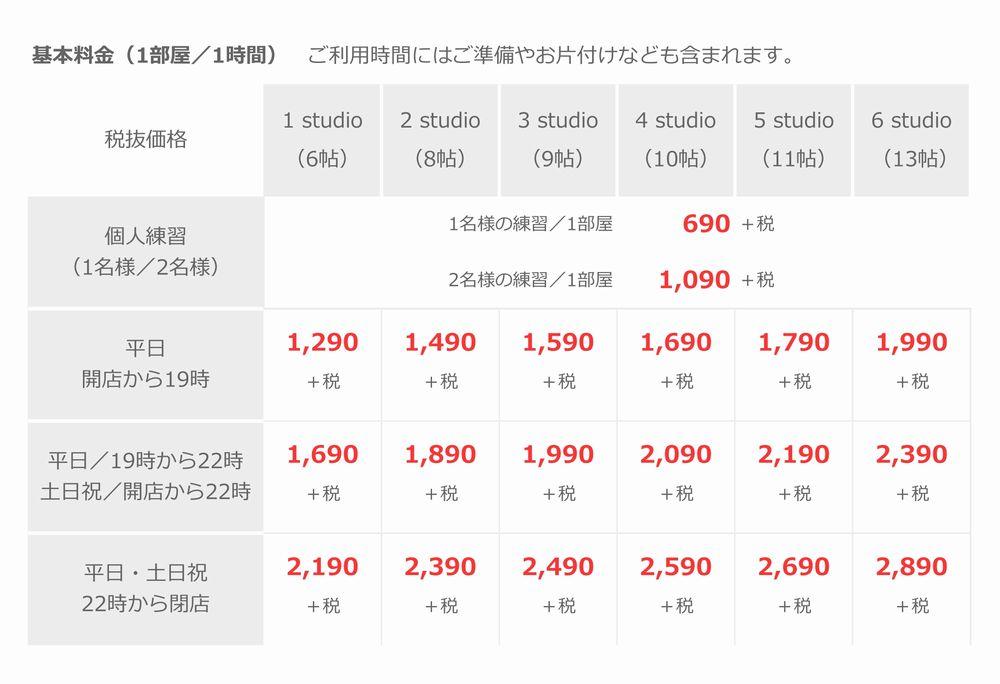 基本料金(音楽天国・藤枝店)