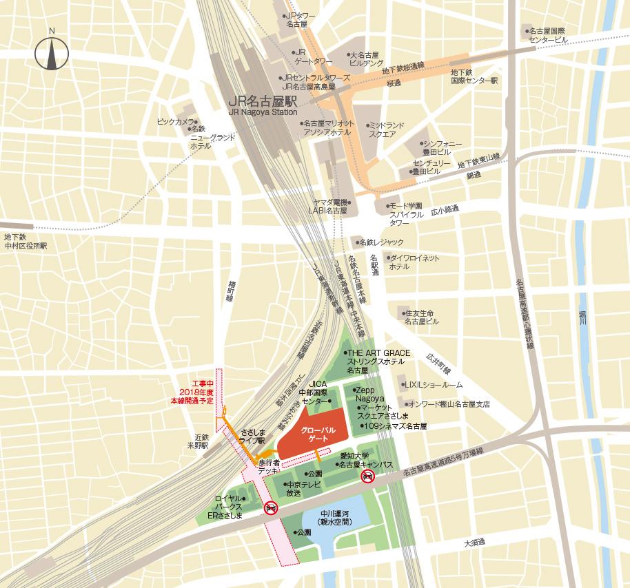 音楽天国・名古屋ささしまライブ店のアクセスマップ